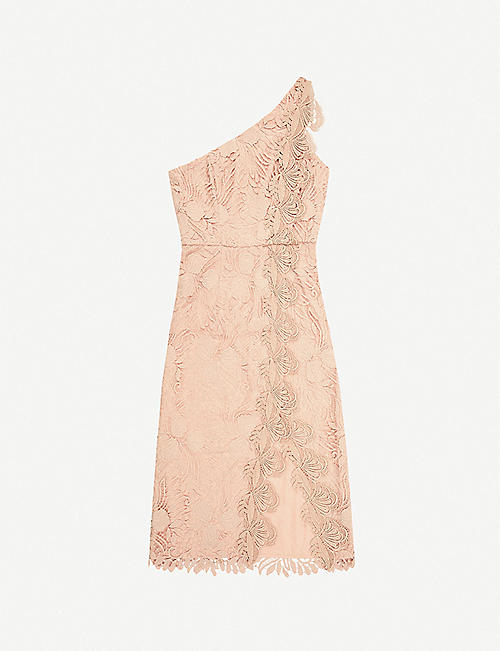 REISS: Mena one-shoulder lace midi dress