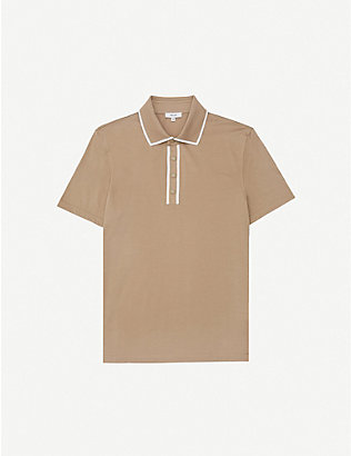 REISS: Aaron knitted-cotton polo shirt