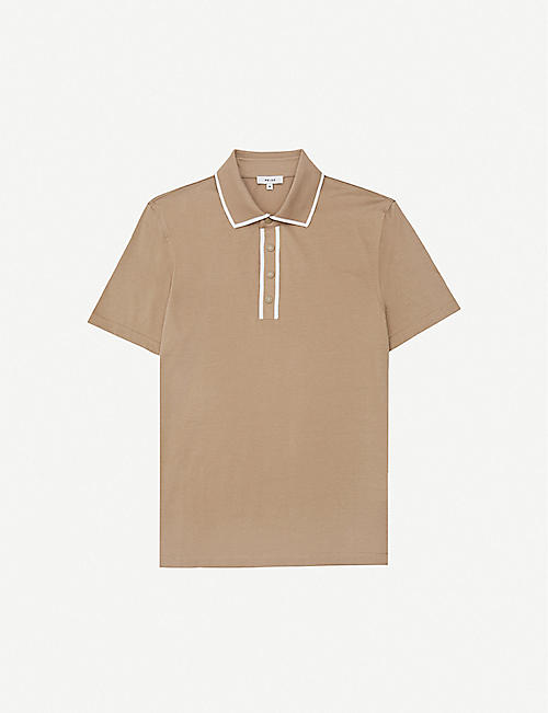 REISS Aaron knitted-cotton polo shirt