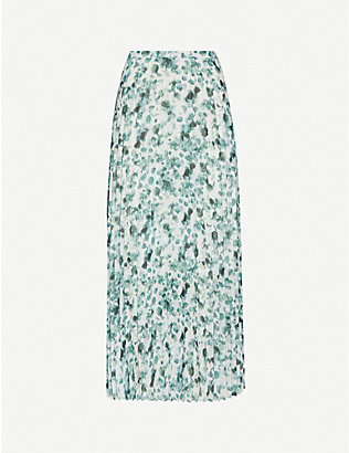 ME AND EM: Eucalyptus print pleated crepe midi skirt