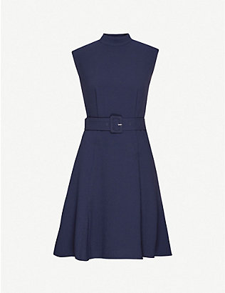 WHISTLES: Belted stretch-crepe dress