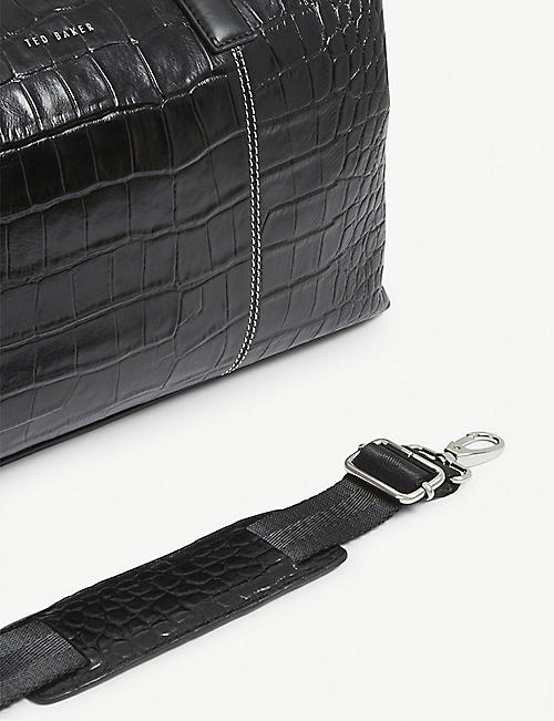 TED BAKER Donk croc-embossed leather holdall