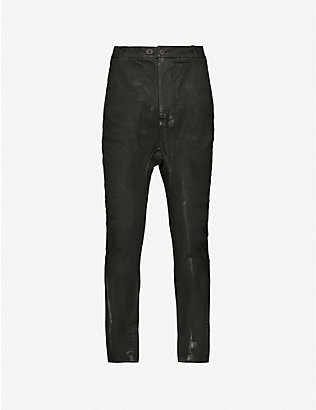 BORIS BIDJAN SABERI: BBS vinyl-coated cotton-blend jeans
