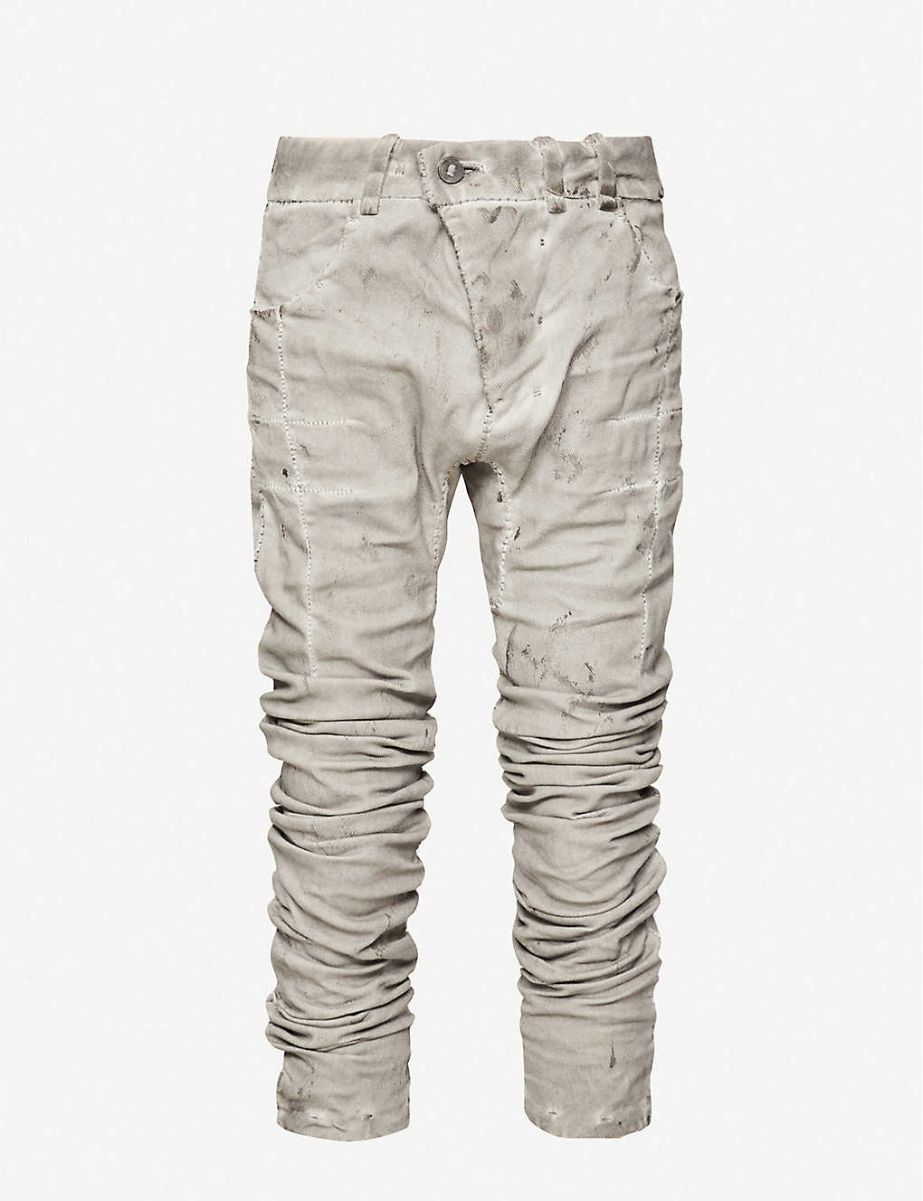 BORIS BIDJAN SABERI: Abstract-pattern slim-fit cotton and linen-blend trousers