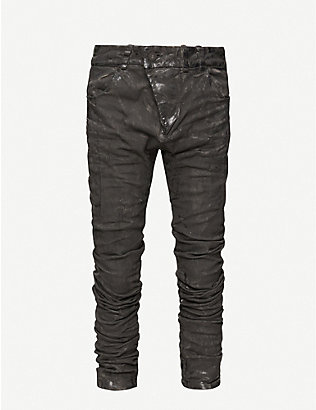 BORIS BIDJAN SABERI: Abstract-pattern slim-fit stretch-cotton trousers