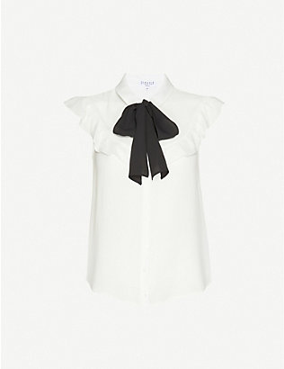 CLAUDIE PIERLOT: Frilled-trim stretch-crepe top