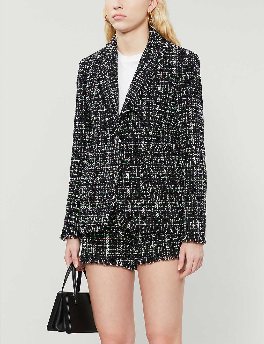 CLAUDIE PIERLOT: Frayed-trim tweed blazer