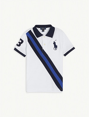 RALPH LAUREN Diagonal-stripe cotton polo shirt 2-7 years