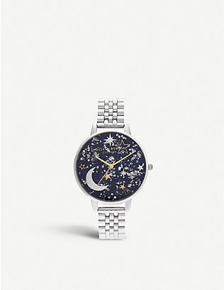 OLIVIA BURTON: OB16GD14 Celestial stainless steel demi dial watch