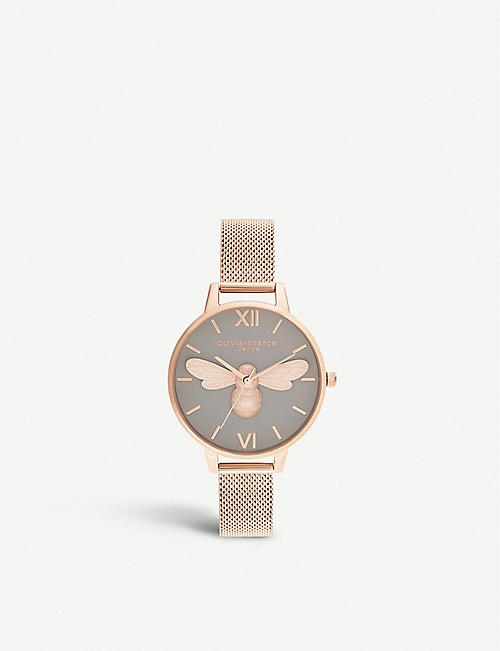 OLIVIA BURTON: OB16FB10 Lucky Bee rose-gold-plated stainless-steel watch