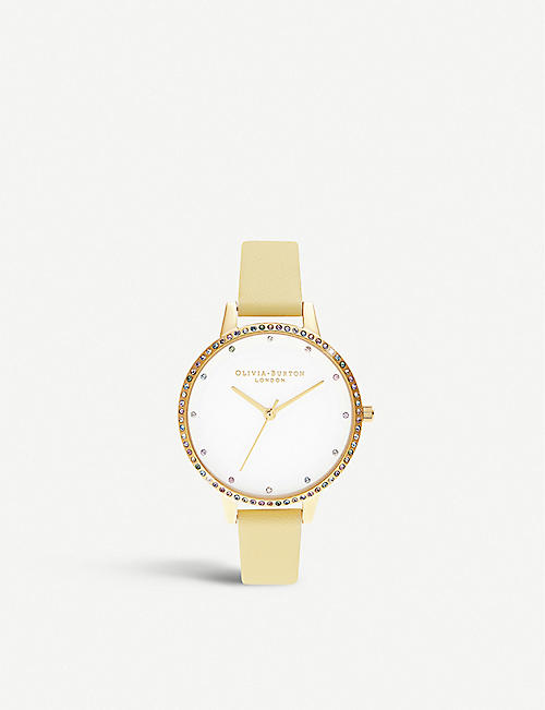 OLIVIA BURTON: OB16RB20 Rainbow gold-toned stainless steel and leather watch