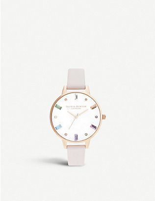 OLIVIA BURTON: OB16RB12 Rainbow rose-gold toned stainless steel and leather watch