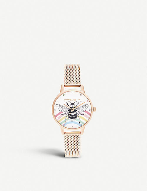 OLIVIA BURTON: OB16WL90 Illustrated Animals rose-gold ion-plated stainless steel watch