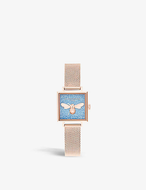 OLIVIA BURTON: OB16GD68 glitter-embellished gold-tone stainless steel watch