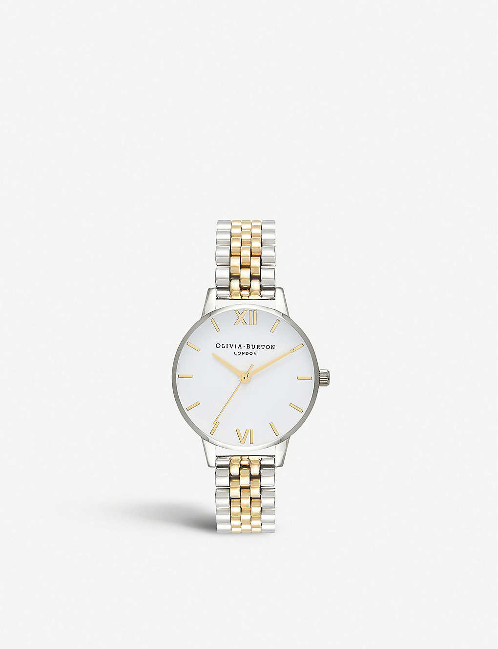 OLIVIA BURTON: OB15BDW02 White Dial gold and silver-toned stainless steel watch