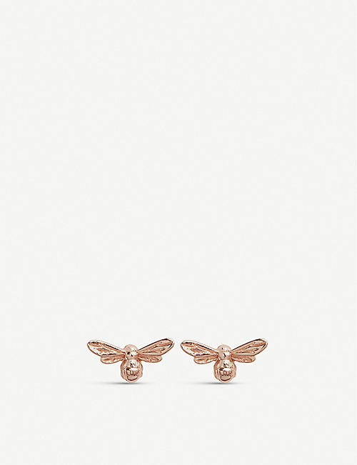 OLIVIA BURTON: Lucky Bee 18ct rose gold-plated vermeil earrings