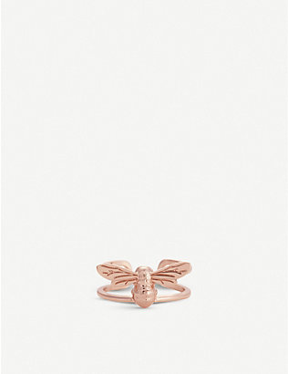 OLIVIA BURTON: 3D Bee rose gold-plated sterling silver huggie earring