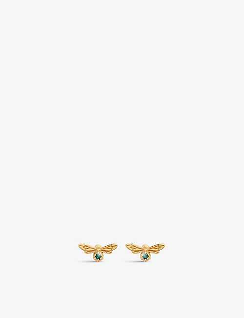 OLIVIA BURTON: Celebration rose gold-plated sterling silver and green agate stud earrings