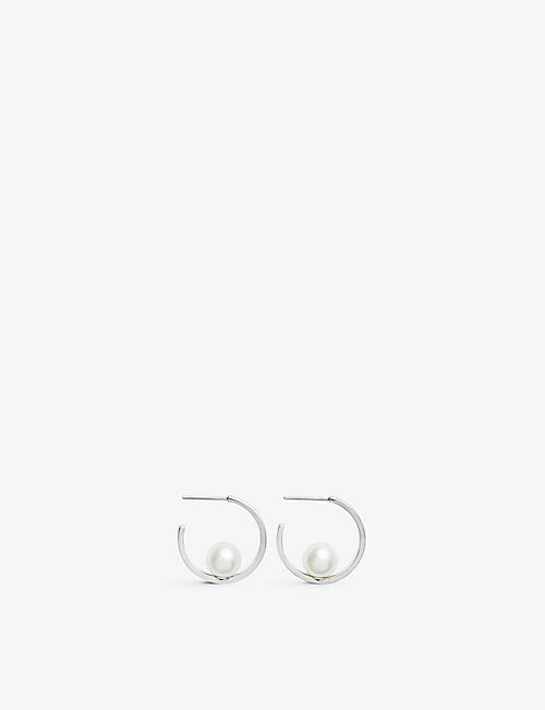 OLIVIA BURTON: Faux pearl-embellished gold-plated sterling silver earrings