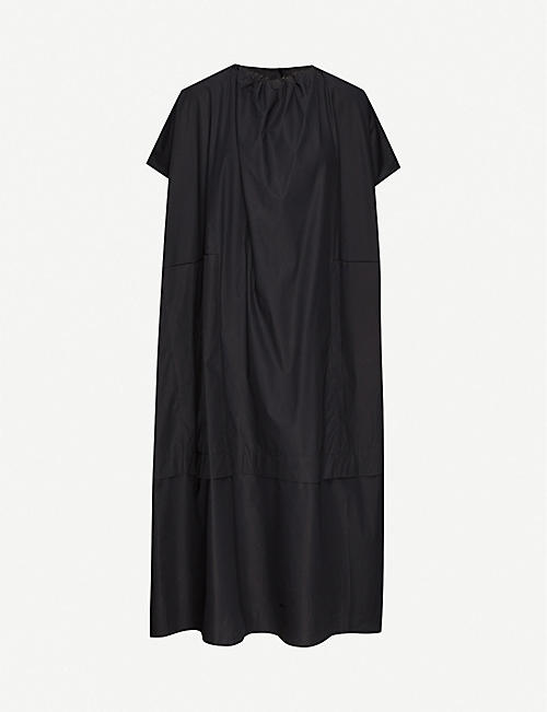 TOOGOOD Gathered round-neck cotton midi dress