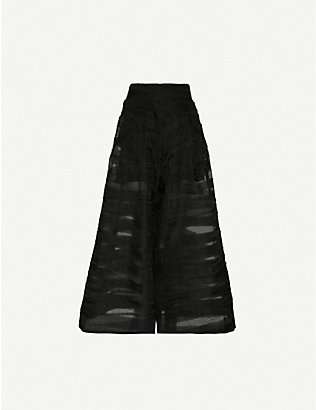 TOOGOOD: Striped high-rise wide silk-organza trousers