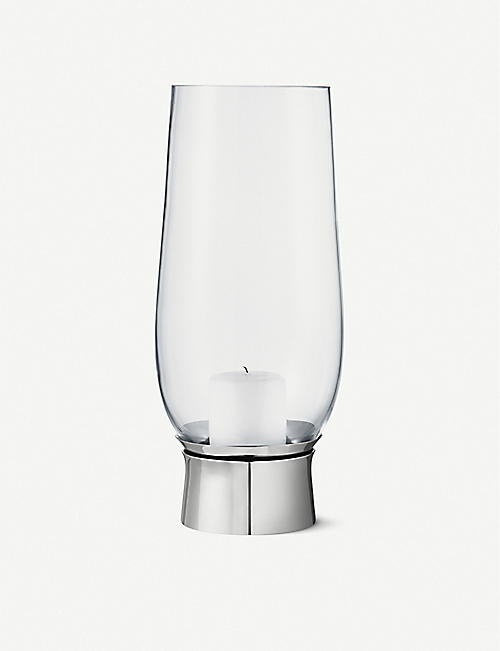 GEORG JENSEN: Lumis Hurricane glass and stainless steel candle holder 33cm