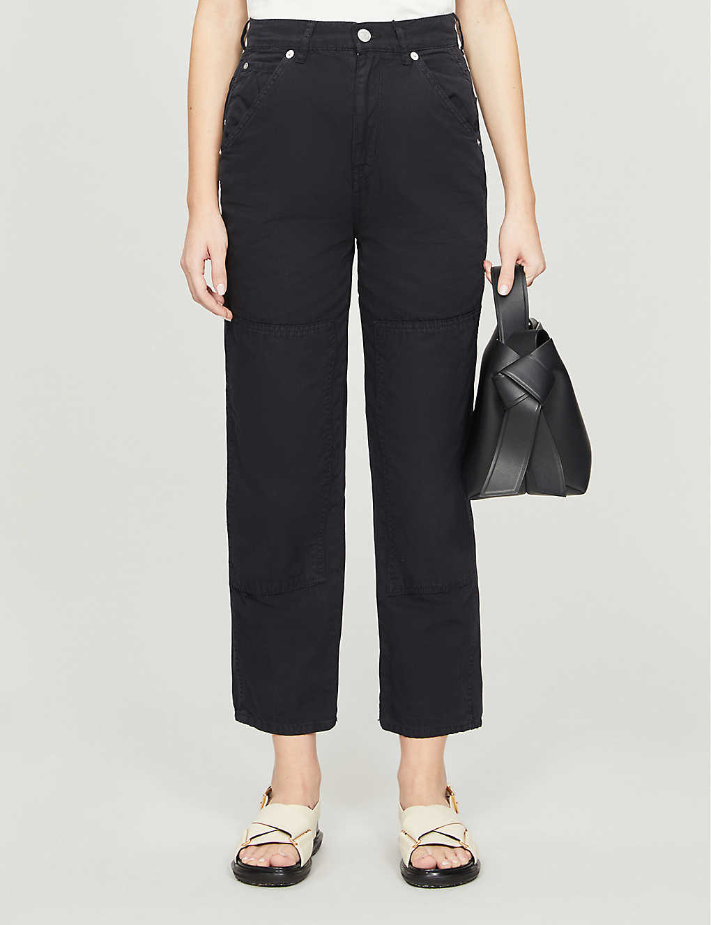 WHISTLES: Cargo panel detail cotton-twill trousers