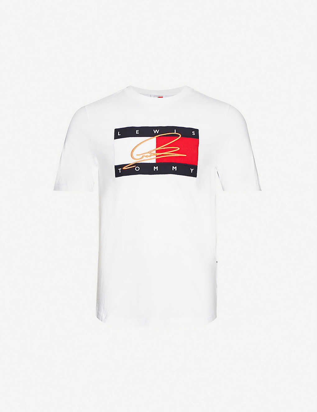 TOMMY HILFIGER: Tommy Hilfiger x Lewis Hamilton logo-embroidered cotton-jersey T-shirt