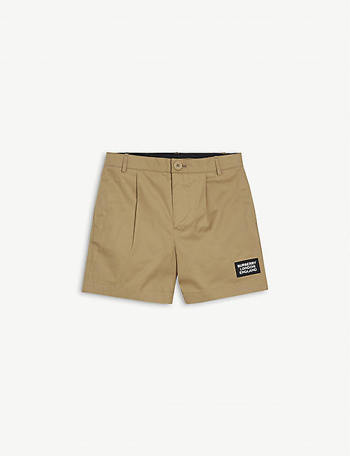 BURBERRY: Shane logo-appliqué cotton-twill shorts 3-14 years