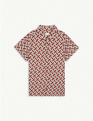 BURBERRY: Desmond monogram-print cotton-poplin shirt 3-14 years