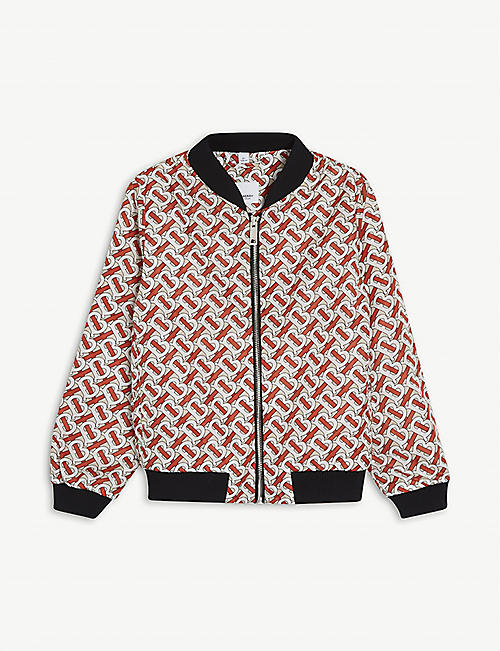 BURBERRY: Monogram-print bomber jacket 3-14 years
