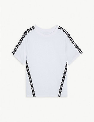 BURBERRY: Logo-print trim cotton T-shirt 3-14 years