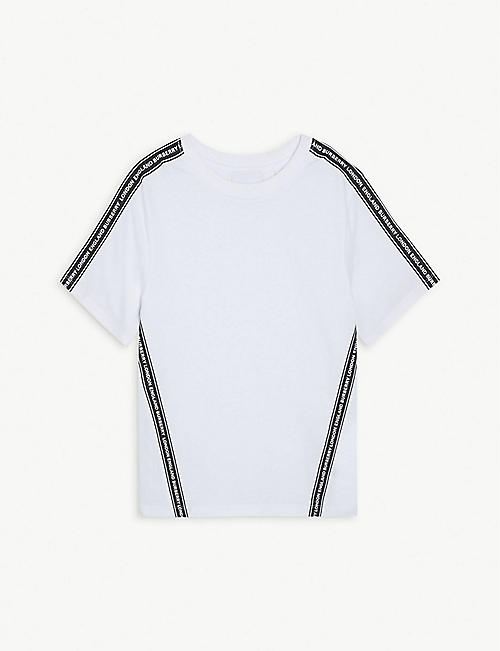 BURBERRY Logo-print trim cotton T-shirt 3-14 years