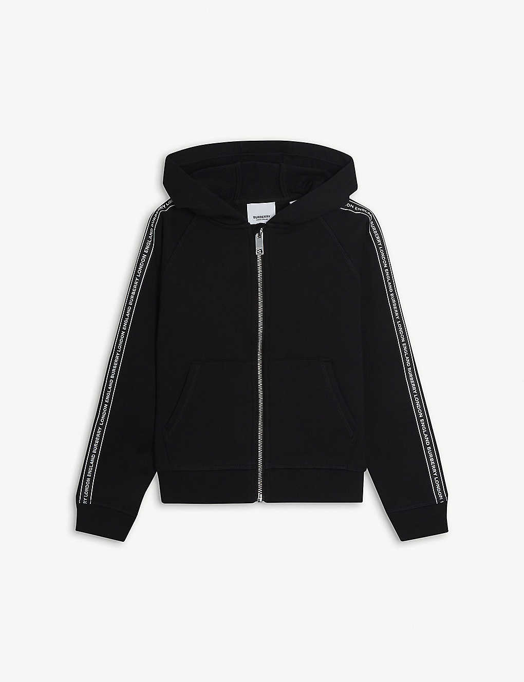 BURBERRY: Tape-trim cotton-jersey hoody 3-14 years