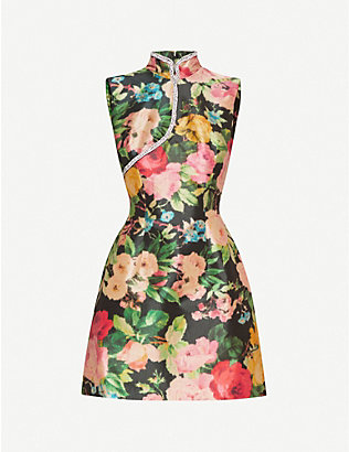 RICHARD QUINN: Floral-print high-neck crepe dress