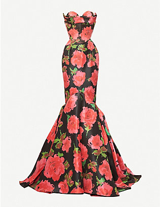 RICHARD QUINN: Floral-print flared crepe gown