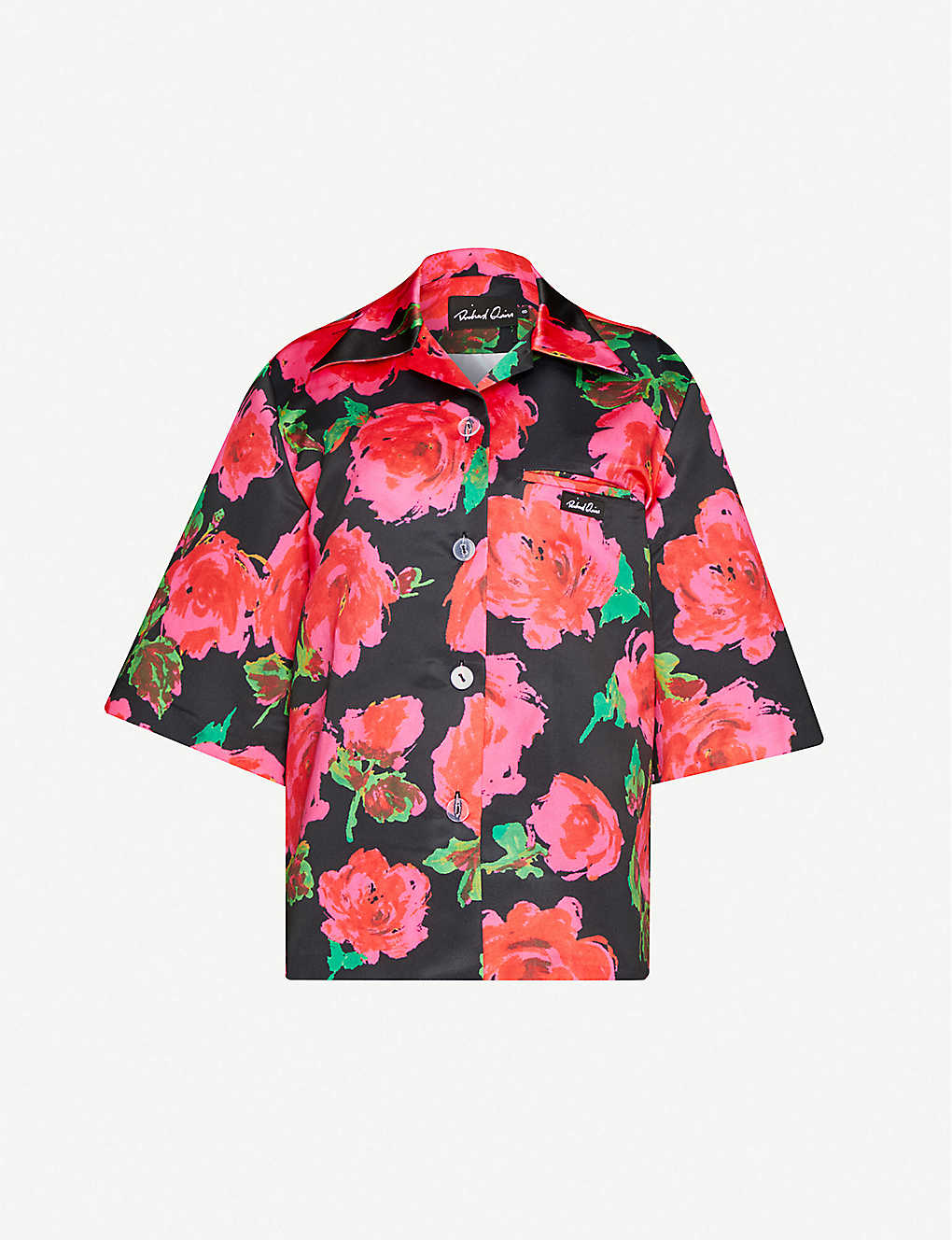 RICHARD QUINN: Floral-print relaxed-fit satin-crepe shirt