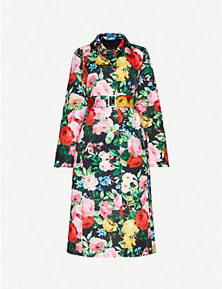 RICHARD QUINN: Floral-print belted satin-crepe coat