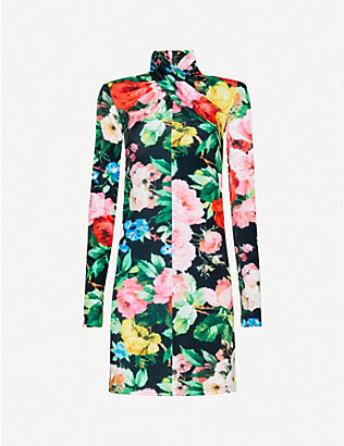 RICHARD QUINN: Floral-print velvet mini dress