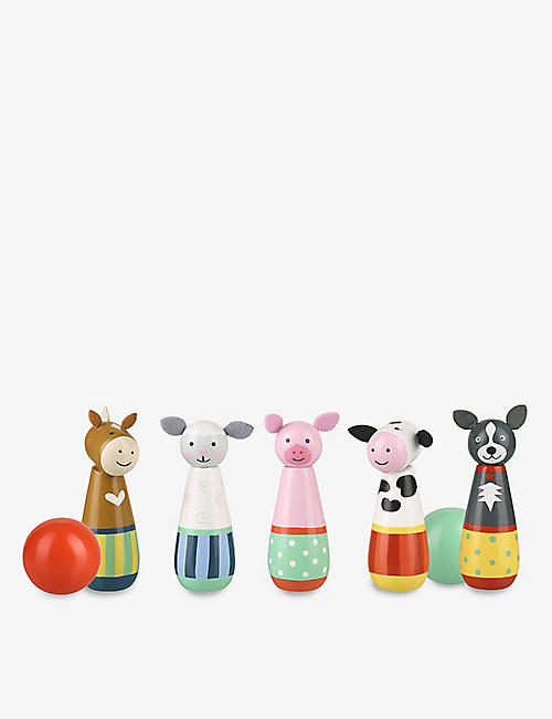ORANGE TREE TOYS: Farmyard animals wooden skittles set