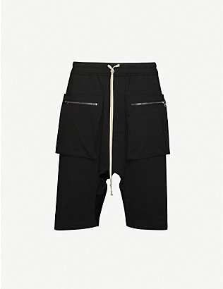 RICK OWENS DRKSHDW: Drawstring relaxed mid-rise cotton shorts