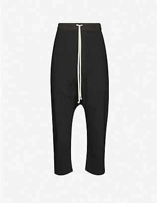 RICK OWENS DRKSHDW: Larry drawstring stretch-cotton cropped trousers