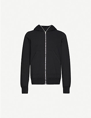 RICK OWENS DRKSHDW: Graphic-print zipped cotton-jersey hoody