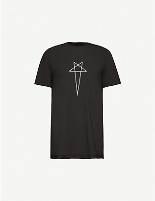 RICK OWENS DRKSHDW: Pentagram Level embroidered cotton-jersey T-shirt