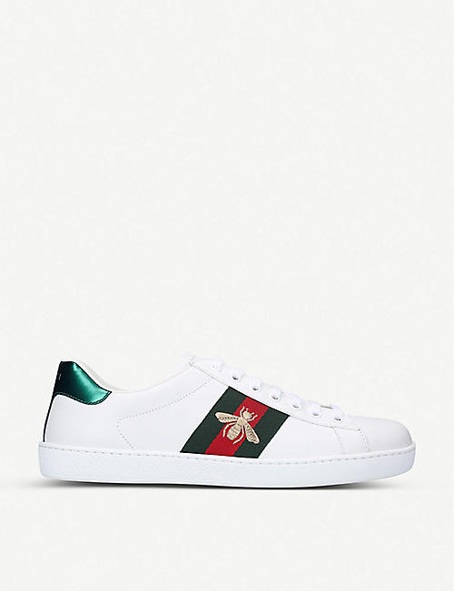 GUCCI New Ace Bee leather trainers