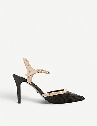 DUNE: Caylee studded heeled leather courts