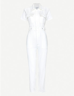 GOOD AMERICAN: Fit For Success straight-leg stretch-denim jumpsuit