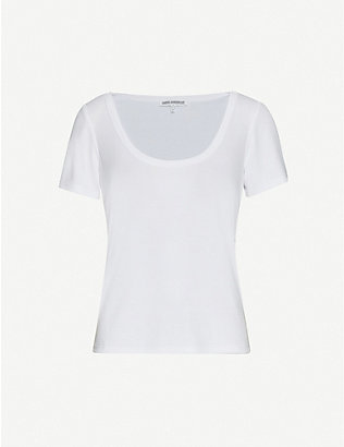 GOOD AMERICAN: Ribbed woven T-shirt