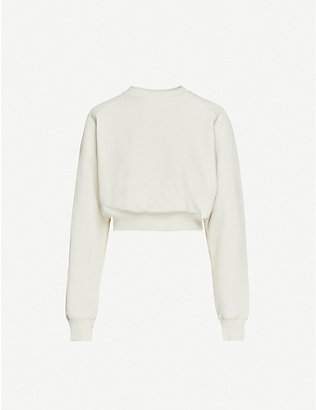 REEBOK X VICTORIA BECKHAM: Cropped cotton-knit sweatshirt