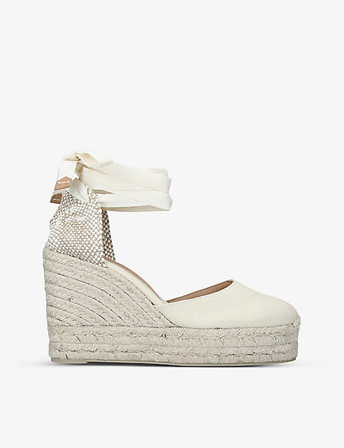 CASTANER: Carina cotton-canvas wedge espadrilles
